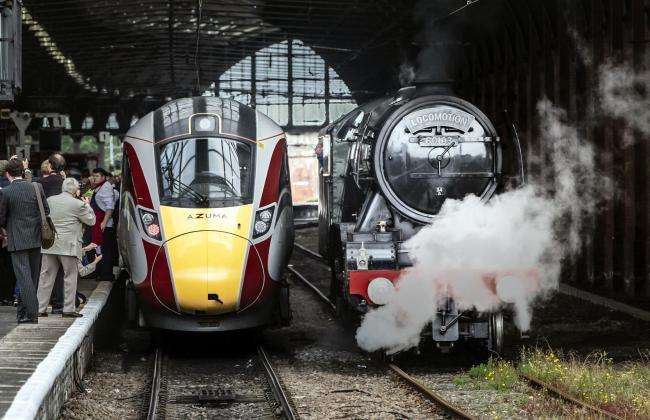A new Azuma train alongside the Flying Scotsman locomotive at Darlington Train Station Picture: DANNY LAWSON/PA WIRE