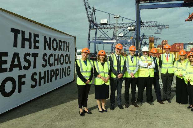 Pd Ports Chief Executive Officer Frans Calje, Chair of the North East branch of the Institute of Chartered Shipbrokers and Customs Manager at Casper Shipping Nikki Sayer and Stockton Riverside College's Head of Department for Construction and Profes