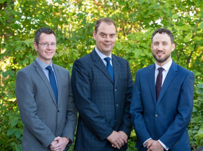 From left, Begbies Traynor insolvency managers Jonathan Todd, Chris Cox and James Crawford
