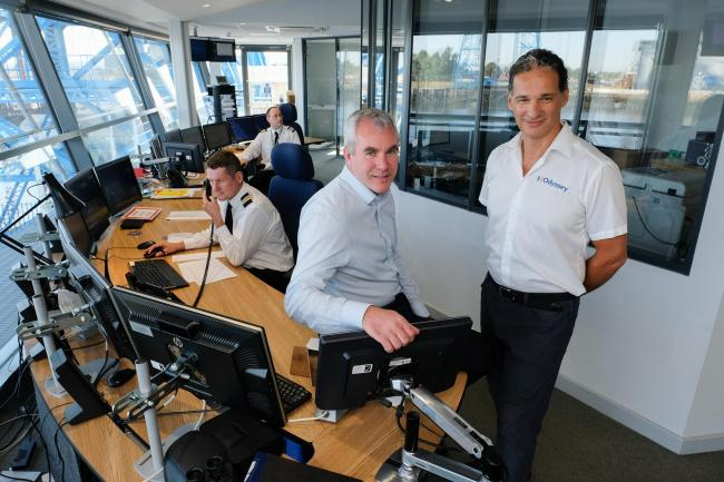 From left, Jan-Willem Rikkerink with Mike Odysseas, MD of Odyssey Systems, in PD Ports' state-of-the-art Harbour Office Picture: KEITH TAYLOR