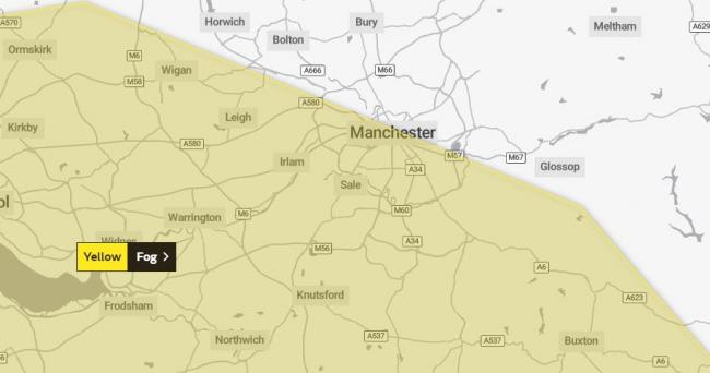 Fog warning issued for parts of Greater Manchester