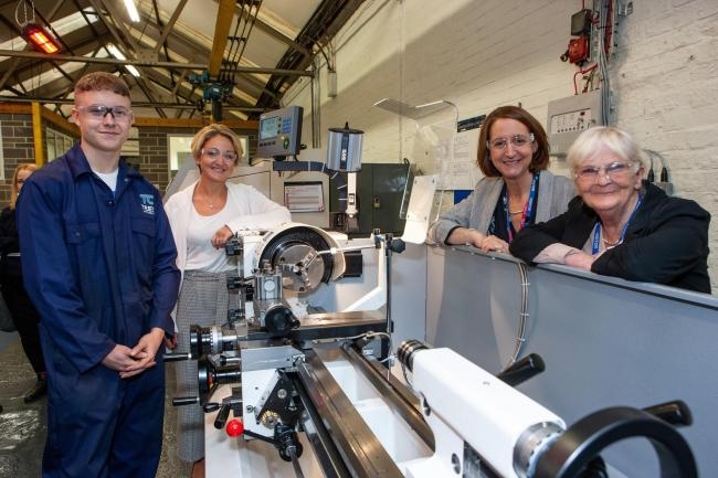 From left, apprentice Daniel Peart, 16, from Skelton, Tees Components' managing director Sharon Lane, Zoe Lewis, principal of Middlesbrough College and Cllr Mary Lanigan, Leader of Redcar & Cleveland Council at the opening of Tees Components&rsq