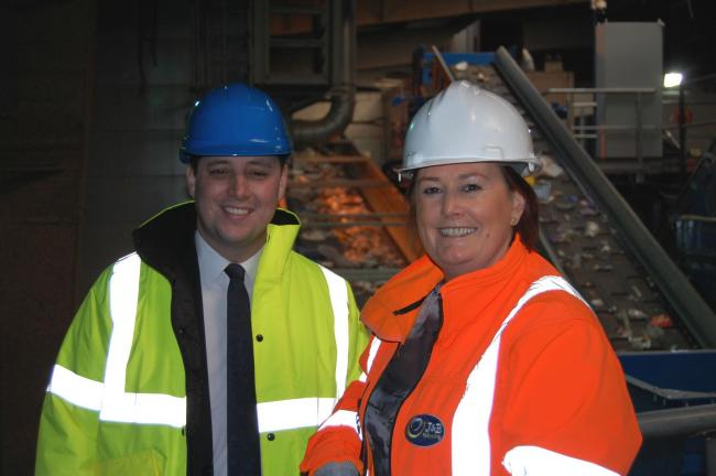 Vikki Jackson-Smith, Managing Director at J&B Recycling with Ben Houchen